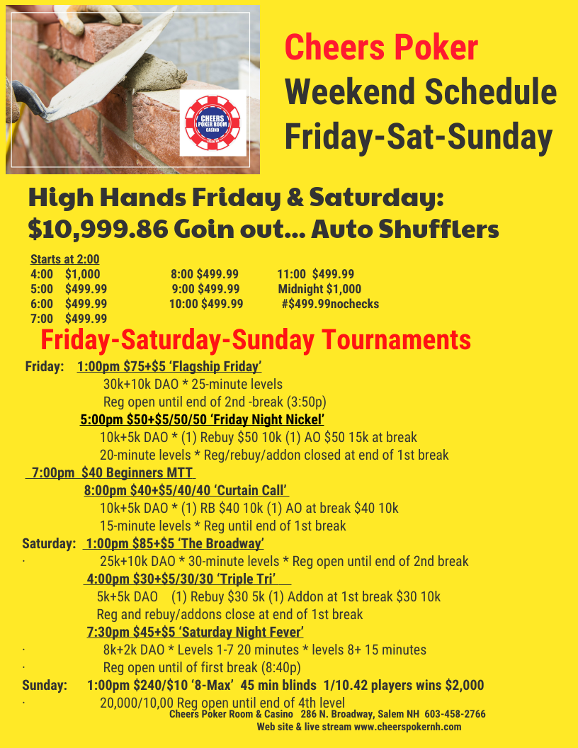 High Hand Promotions Cheers Poker Room