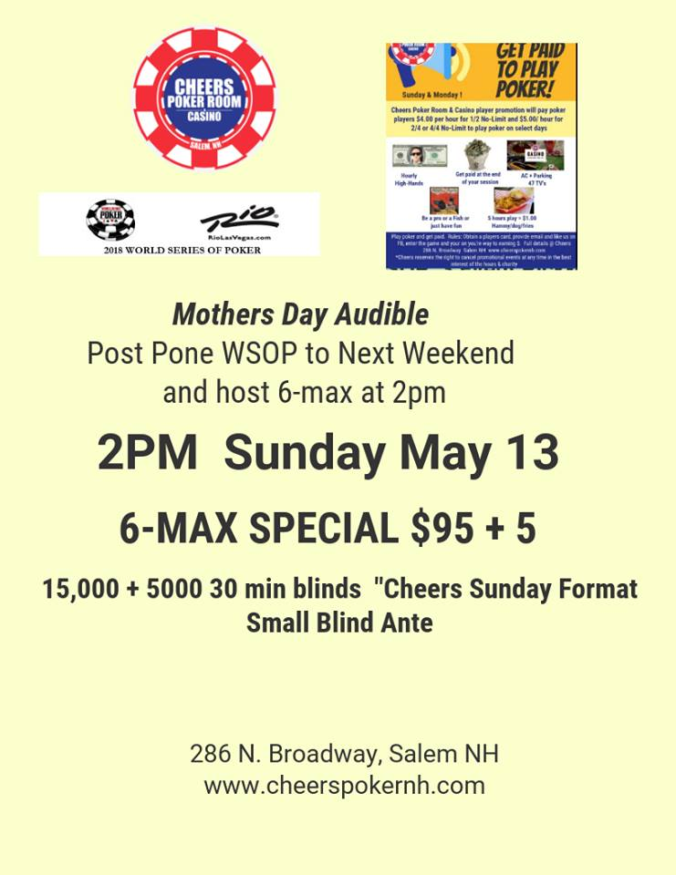 6 Max Tournament Amp Get Paid To Play Cash Cheers Poker Room