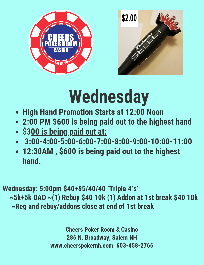 Hi Hands All Day Amp Tournaments Cheers Poker Room